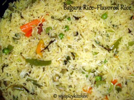 vegetable bagara, vegetable rice, flavored vegetable rice