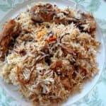 chicken biryani in a plate