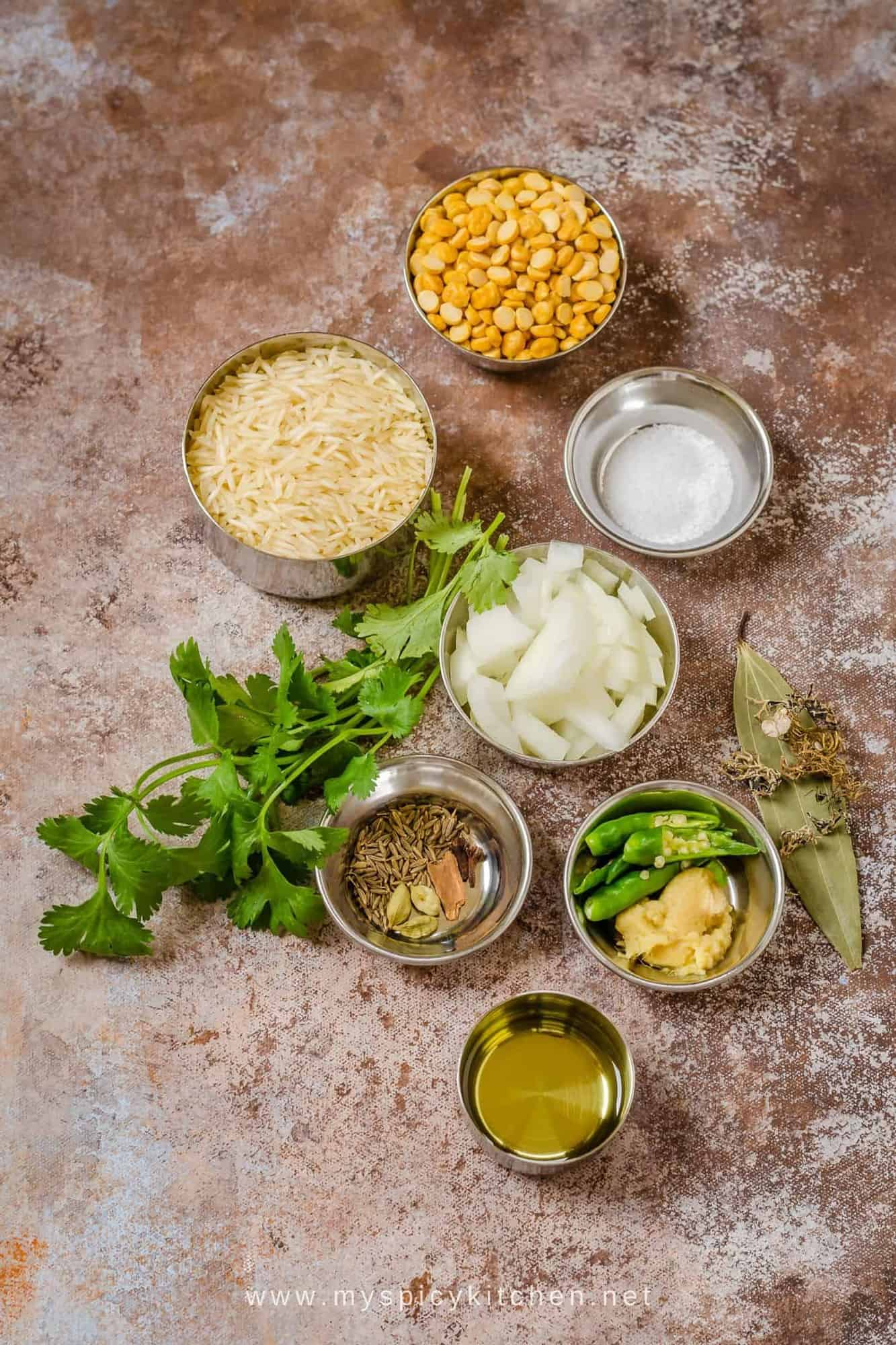 Ingredient shot of chana dal khichdi.