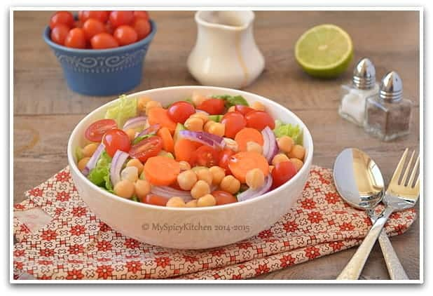 Another angle of bowl. of Chickpeas Salad.