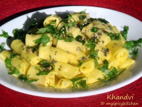 Gujrati snack khandvi