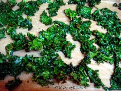 Baked crpsy kale