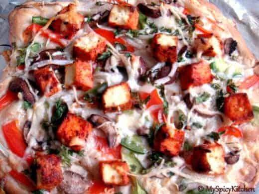 Tandoori Tofu, Vegetable Pizza