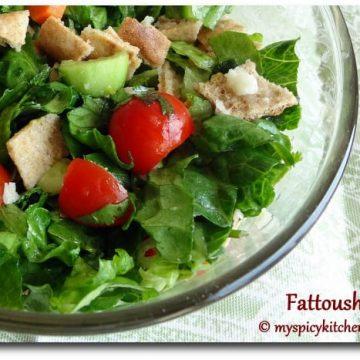 Fattoush, Lebanese Bread Salad, Lebanese Salad, Blogging Marathon