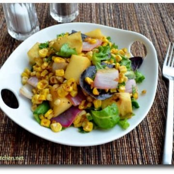 Mango Mania, Blogging Marathon, Mango Corn Salad with curried dressing