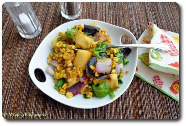 Mango Mania, Blogging Marathon, Mango Corn Salad with curried dressing