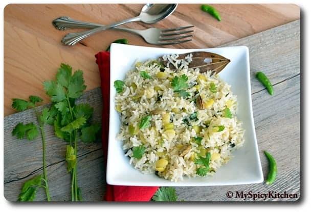 Chikkudu ginjala annam or fresh valor beans rice in a white square bowl