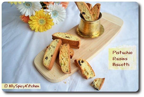 American Style Pistachio Raisin Biscotti - MySpicyKitchen