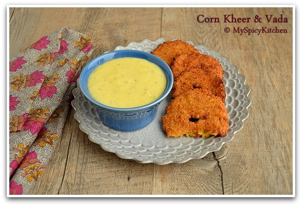 corn pudding and corn fritters served in gray plate
