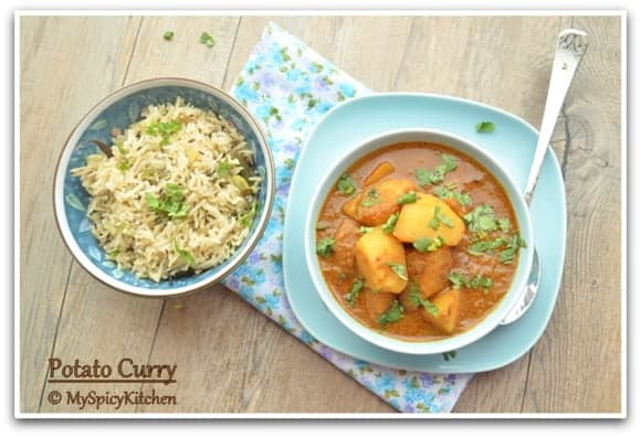 Potato Korma, Blogging Marathon, Aloo Korma, Aloo Curry,