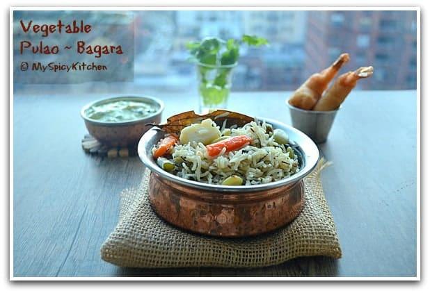 Vegetable Rice, Pilaf, Vegetable Pulav, Blogging Marathon, Pressure Cooker Recipe