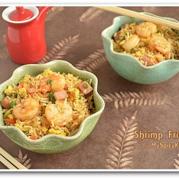 Shrimp & Ham Fried Rice, Chinese Fried Rice, Prawn Fried Rice, Cooking from Cookbooks Challenge,