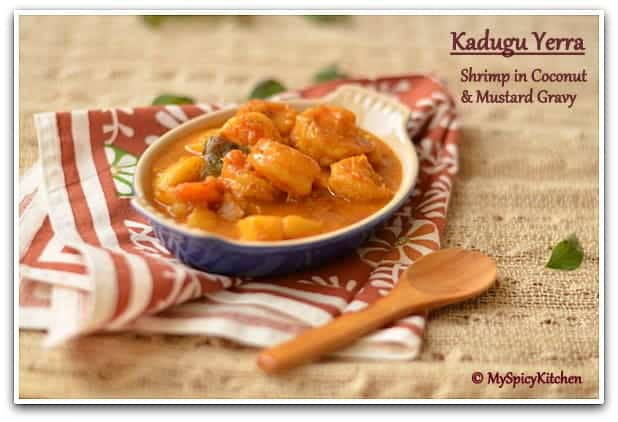 Coconut Mustard Shrimp, Mustard Shrimp, Mustard Prawn Curry, Blogging Marathon, Pondicherry Food,