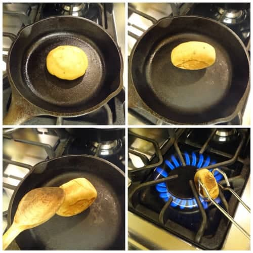 Collage of cooking litti