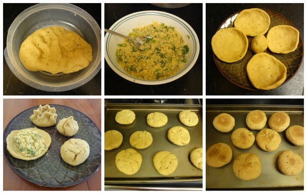 Collage of litti preparation