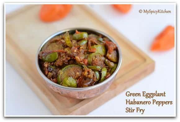 Green Brinjal Curry, Sikkim Food, Green Eggplant Stir Fry, Blogging Marathon,