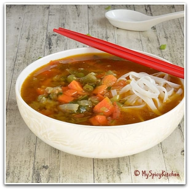 Arunachal Cuisine, Sikkim Cuisine, Vegetable Noodle Soup, Blogging Marathon
