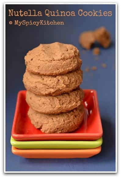 A stack of eggless Nutella quinoa cookies