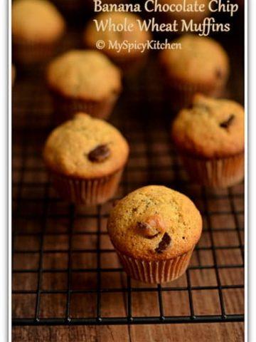 Blogging Marathon, Baking Marathon,FireUpYourOven, Muffins, Banana Muffins, Chocolate Chip Muffins,