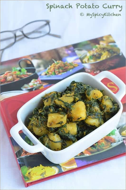 Saag Aloo, Spinach Potato Curry, Aloo Saag, Palak Aloo, Palakura Alugada Kura, Cooking from Cookbook Challenge,