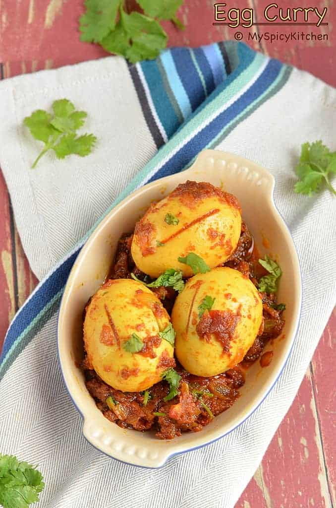 Egg Curry 2, Kodi guddu koora, kodi guddu kura, kodi guddu iguru, Egg Curry, ande curry, Indian food, Blogging Marathon, Side dish,