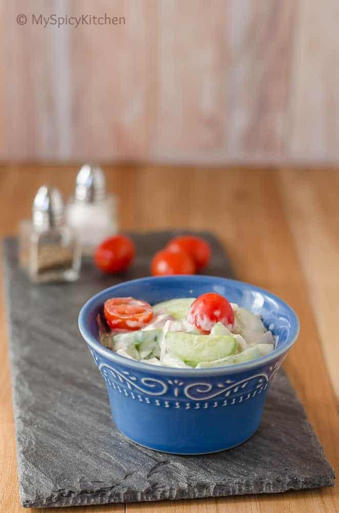 Cucumber Tomato Salad with Sour Cream, Cucumber Tomato Salad, Salad, Summer Salad, Blogging Marathon, Simple Salad