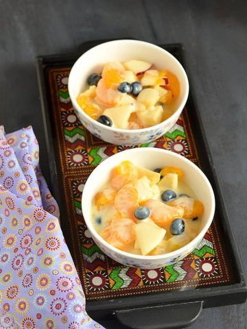 Fruit Salad with Mock Custard , Fruit Salad, Custard, Custard Sweet. Blogging Marathon,