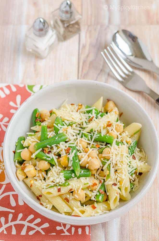Salad, Green Beans Pasta Salad, Blogging Marathon, Green Beans, Summer Salad, Chickpeas,