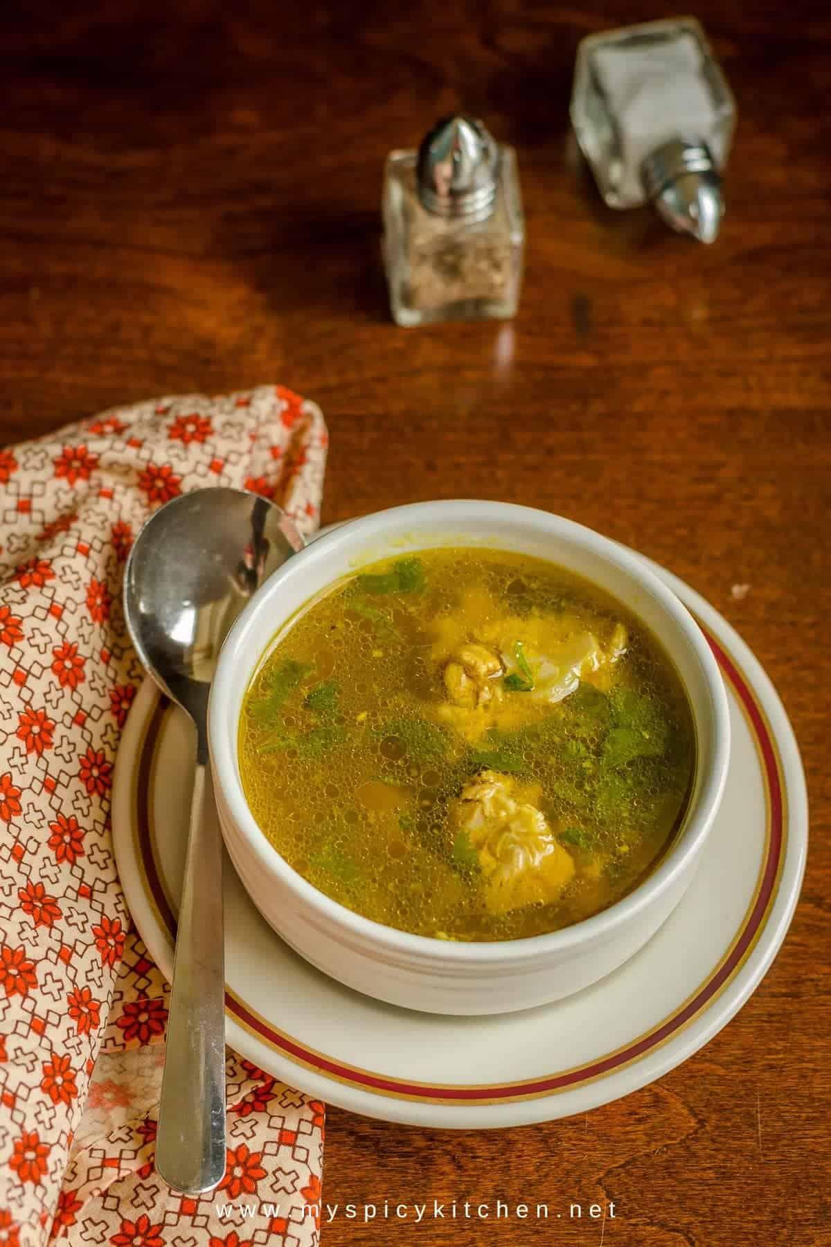Blogging Marathon, Cooking Carnival, Protein Rich Food, Cooking With Protein Rich Ingredients, Cooking With Chicken, Indian Food, Indian Soup, Chicken Clear Soup, Desi Style Chicken Clear Soup,