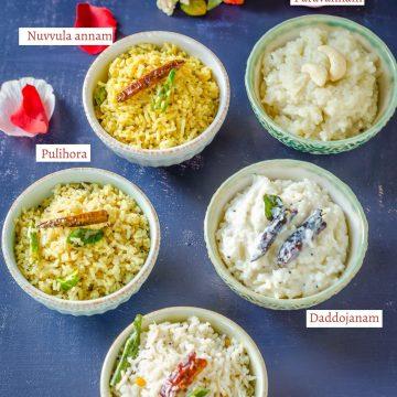 Saddula Bathukamma, Prasadam for Saddula bathukamma, perugannam, nuvvula annam, kobari annam, pulihora, paravannam, bellapannam, Telangana food, Telangana cuisine, Telugu food,
