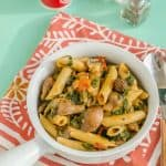 Vegan Penne Pasta with Mushrooms & Spinach