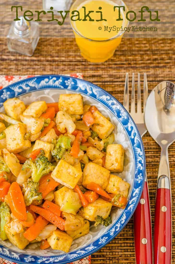 Bowl of vegan teriyaki Tofu