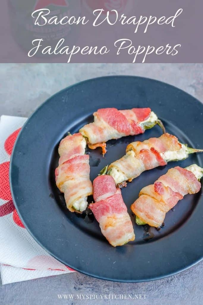 Plate of 3 ingredient  bacon wrapped jalapeno  poppers