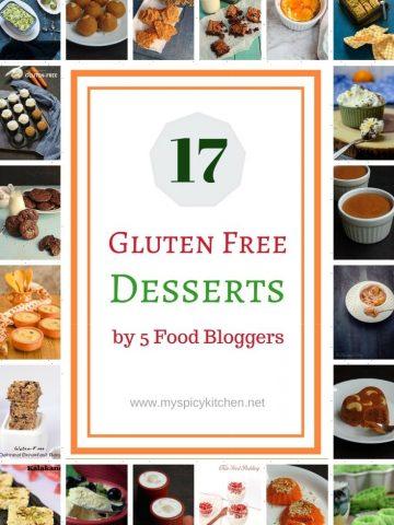 Collage of gluten free desserts.