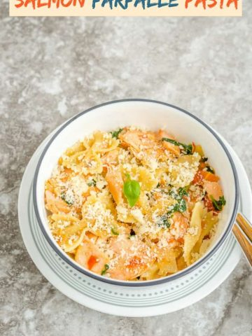 Delicious creamy salmon farfalle pasta