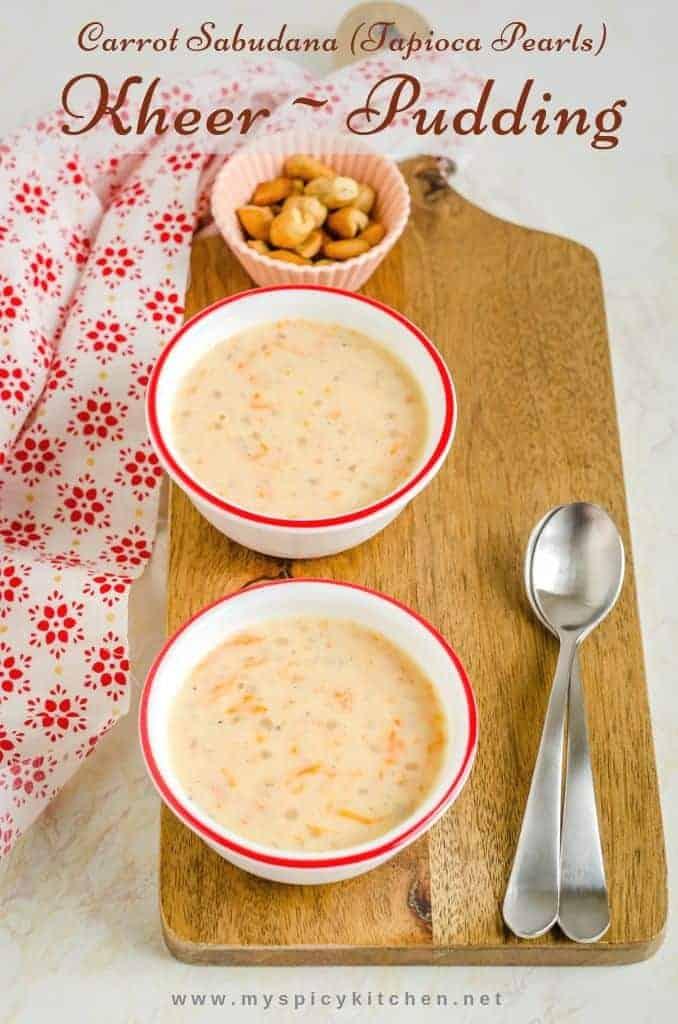 Instant Pot Carrot Sabudana kheer, Instant pot carrot tapioca pearl pudding, instant pot carrot sabudana payasam