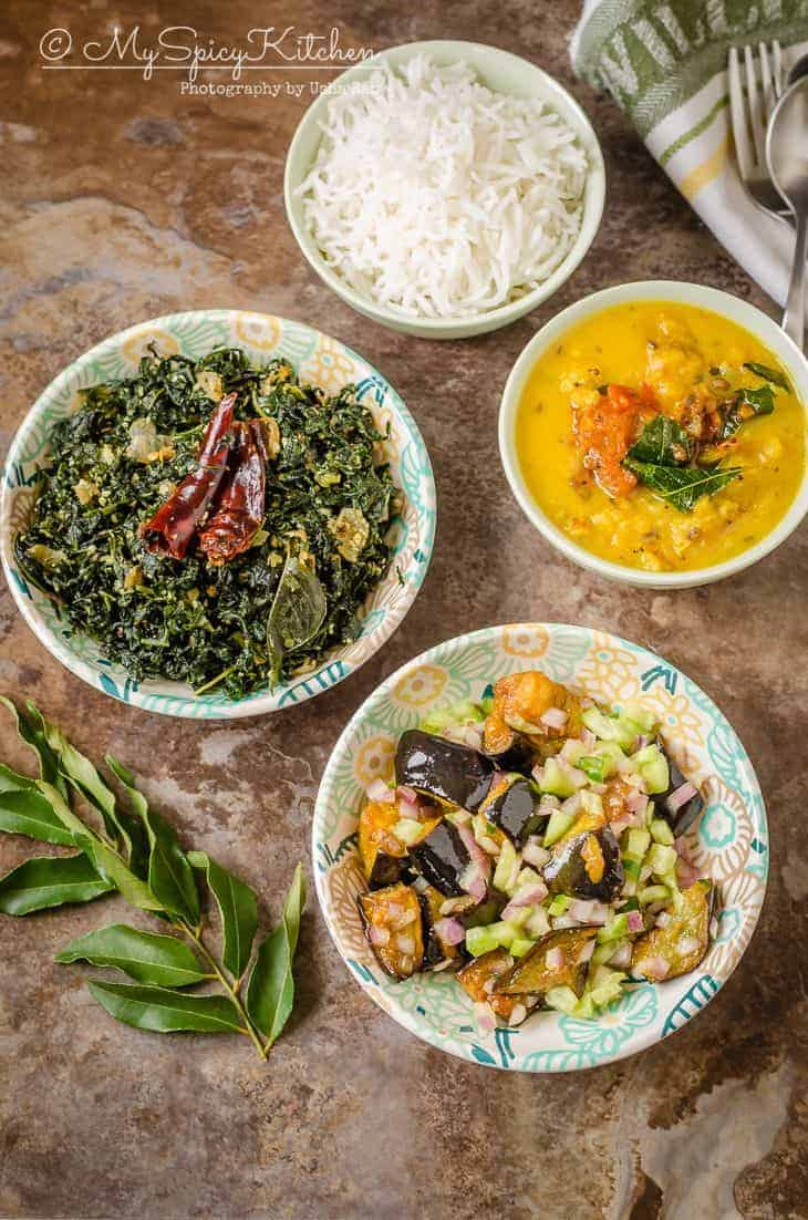Sri Lankan meal with Eggplant Sambol