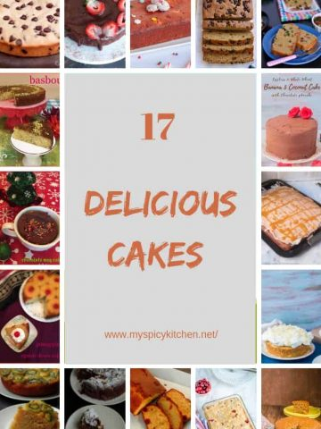 Collage of 17 easy delicious cakes