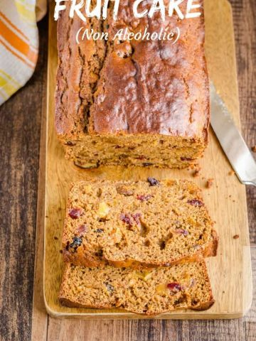 Loaf of non alcoholic low calorie classic fruit cake