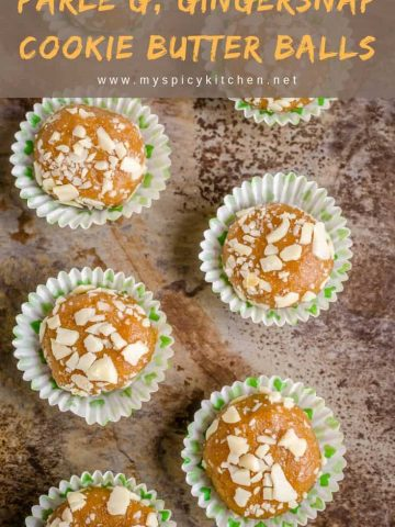 Ginger flavored glucose biscuit ginger snap cookie butter balls are additive quick snack and a dessert.