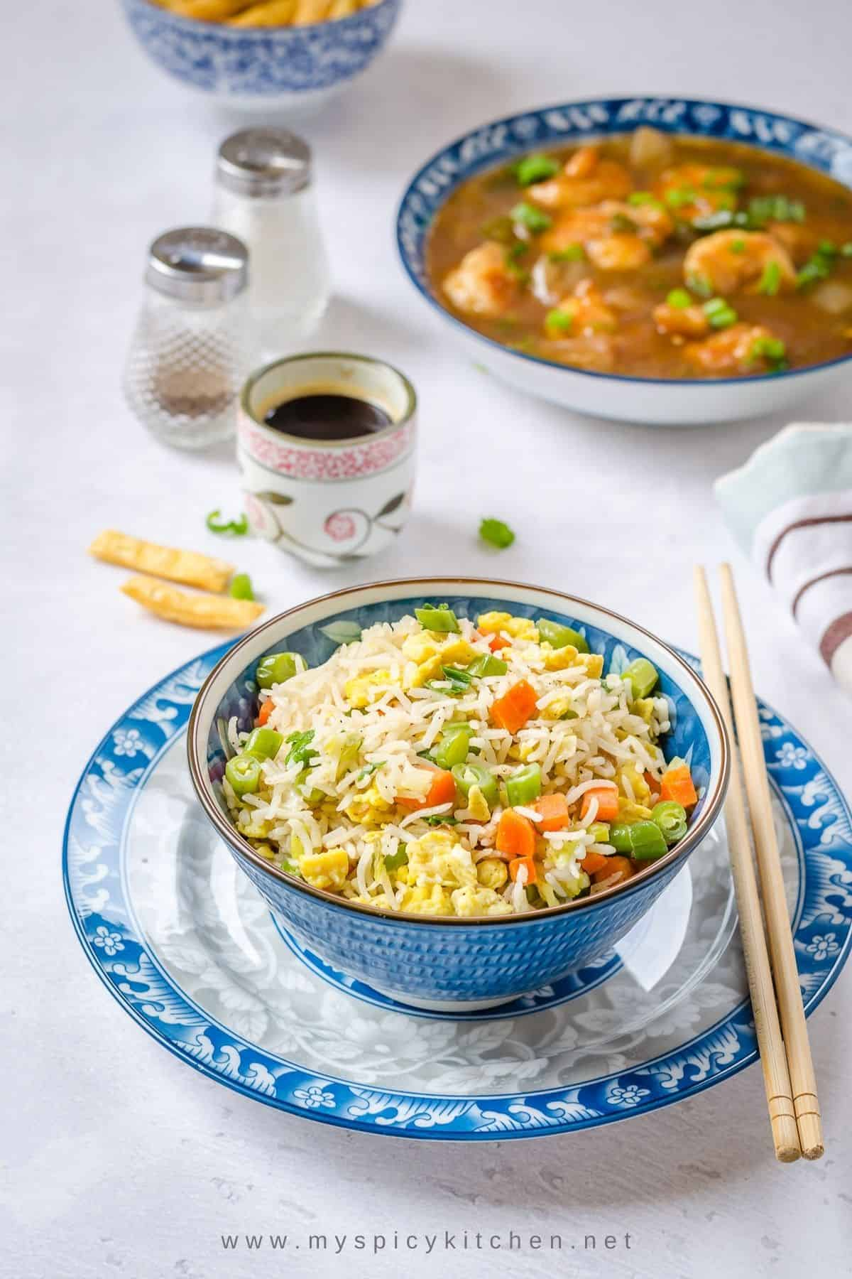 A flavorful bowl of egg fried rice.