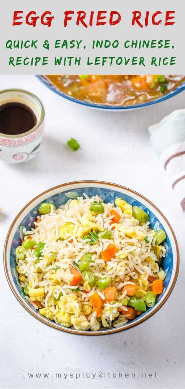Flavorful Indi Chinese egg fried rice.