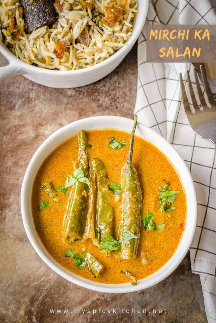 Bowl of green chilies curry. It is a tangy curry with peanut sesame base and a popular side dish from Hyderabad cuisine