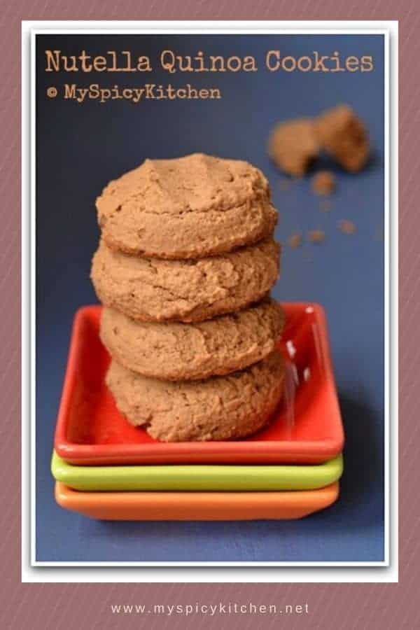 Stack of quinoa cookies in a plate.