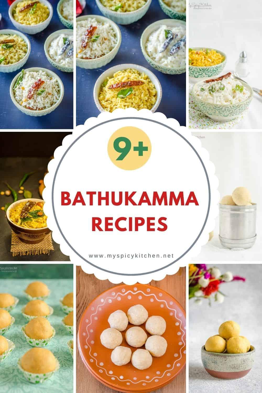 A collage of bathukamma recipes.