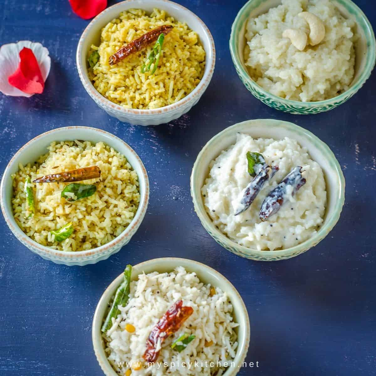 5 bowls of different flavored rice for pedha bathukamma