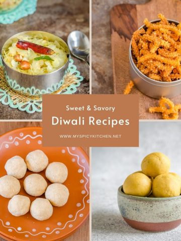 Collage of Diwali recipes.