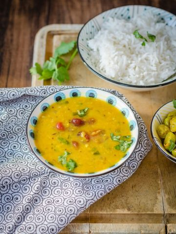 Bowl of. cranberry dal.