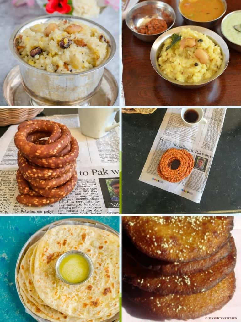 Collage of 6 Sankranti recipes.