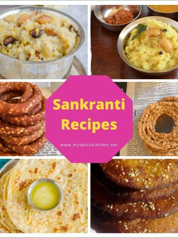 Collage of sankranti recipe images.